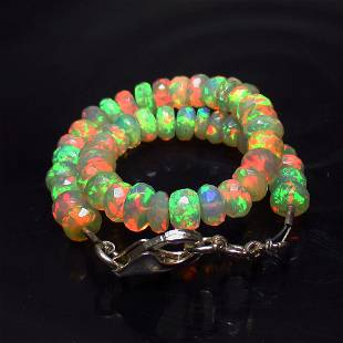 27.43 Ct 925 Silver 48 Multicolor Fire Opal Beads