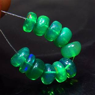 4.86 Ct Natural 11 Drilled Green Fire Opal Beads