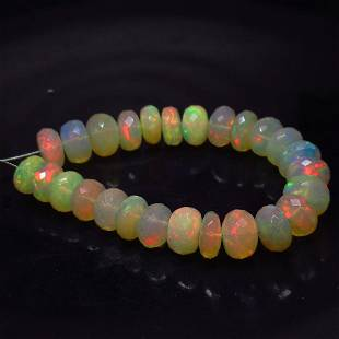 29.70 Ct Natural 26 Drilled Faceted Fire Opal Beads
