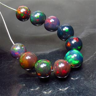 6.16 Ct Natural 10 Drilled Black Fire Opal Ball Beads