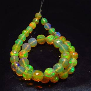 30.00 Ct Natural 41 Drilled Fire Opal Ball Beads