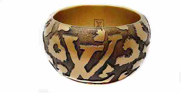 Louis Vuitton Wide Brown Wood Leomonogram Bangle