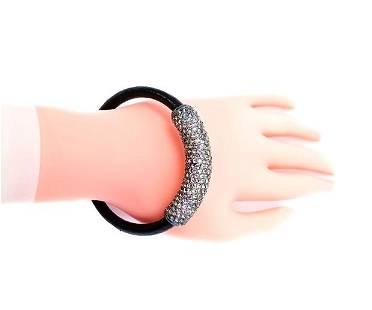 Joan Boyce Black Crystal and Leather Magnetic Bangle
