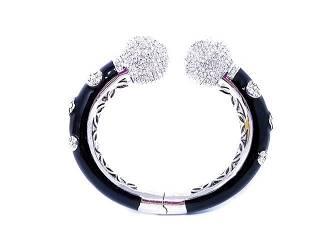 Joan Boyce Couture Crystal Black Cuff Bangle Bracelet