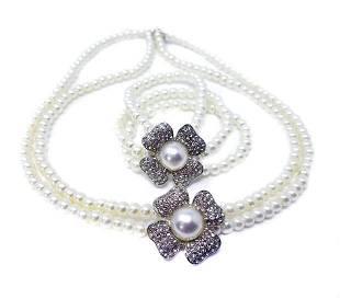 White Faux Pearl Floral Necklace Bracelet Bridal Set