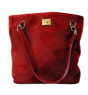 Chanel Vintage Stitched CC Red Suede Chain Tote Bag