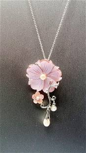 Michael Valitutti Mother of Pearl 925 Silver Flower