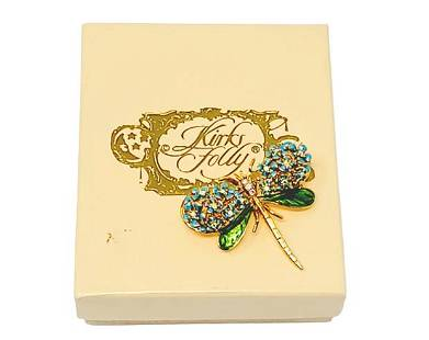 Kirks Folly Boxed Enamel Green Blue Dragonfly