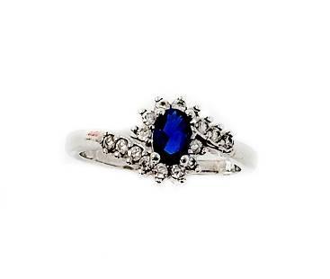 Blue Sapphire Diamond Ring Marked 926