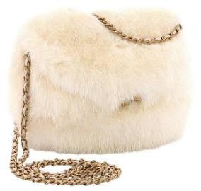 Chanel Fur Winter White Vintage Kisslock Very Rare Bag