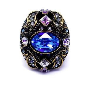 Heidi Daus Blue Rhinestone Swarovski Crystal Ring