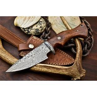 Everyday carry damascus steel hiking knife hardwood