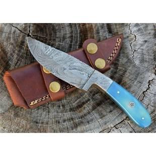 Handmade damascus steel knife sharp bone leather sheath
