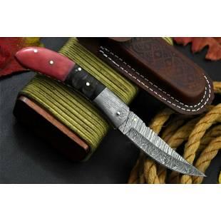 Handmade hiking folding pocket damascus steel knife