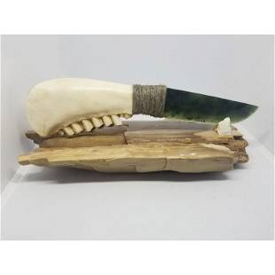 Exclusive collection knife natural jade ram jaw natural