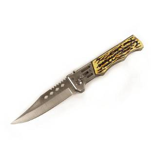Stainless steel folding pocket knife camel bone handle