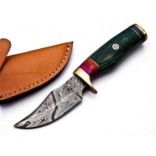 Combat damascus steel knife walnut wood tracker