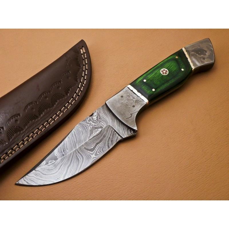 Knife damascus steel walnut wood bolster hunting