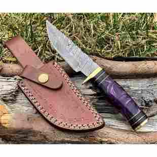 Hiking camping work damascus steel knife hunting resin