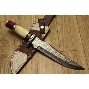 Hunting hiking damascus steel knife camel bone dagger