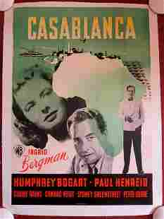 Casablanca - Bogart, Bergman (1946) Danish Movie Poster