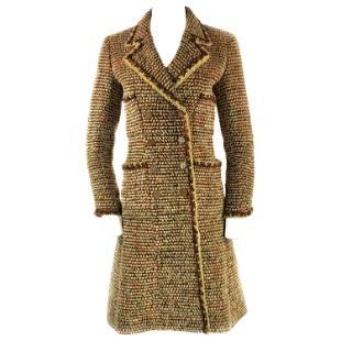 Vintage CHANEL Brown Tweed Coat Size FR34