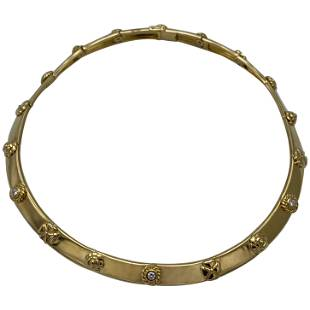 Vintage Chanel Yellow Gold Diamond Three Symbols Flower
