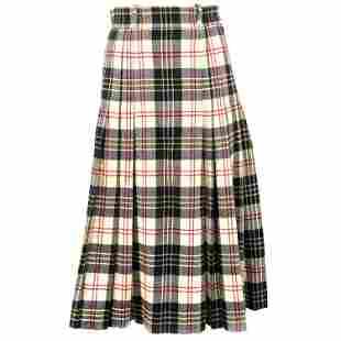 Vintage Valentino Boutique Wool Plaid Flare Midi Skirt