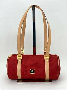 MCM Red Visetos Circle Nylon and Leather Small Barrel