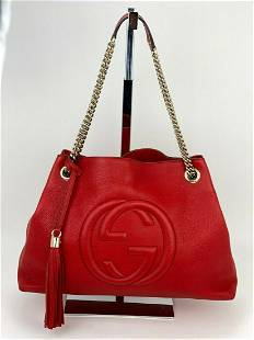 Gucci Red Medium Soho Pebbled Leather Chain Strap
