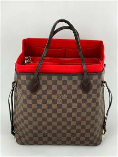 LOUIS VUITTON Neverfull MM Damier Ebene Tote Red