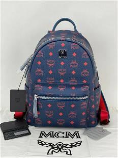 MCM Stark Backpack in Visetos Coated Canvas Deep Sea