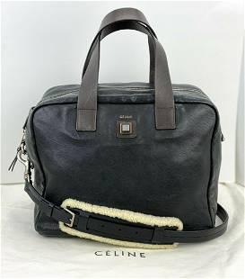 Vintage Celine Black Leather Shearling Strap Briefcase