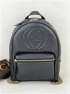 Gucci Soho Black Pebbled Calfskin Chain Backpack 431570