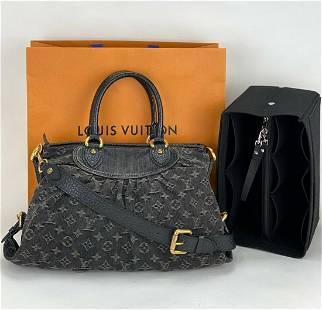 LOUIS VUITTON Monogram Denim Neo Cabby MM 2Way Bag Noir