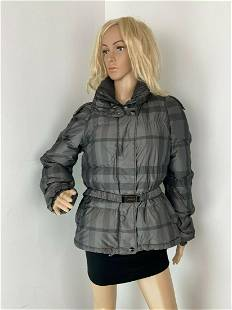 Burberry London Black and Gray Puffer Down Jacket Coat