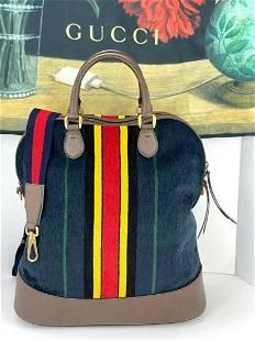 GUCCI Blue Chenille Web Jacquard Tote Bag 484678 Navy