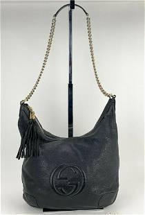 Gucci Soho Pebbled Black Leather Calfskin Hobo Shoulder