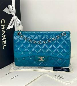 Chanel Jumbo Classic Double Flap Turquoise Blue Quilted