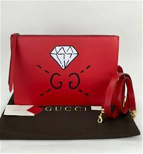 GUCCI Red Calfskin Leather Diamond GG Messenger