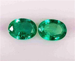 Intense Green Pair of Natural Emerald Oval Shape