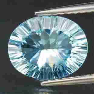 3,44 cts Natural Oval Light Blue Concave Cut Topaz