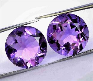 2,80 cts Pair of Natural Round Amethyst