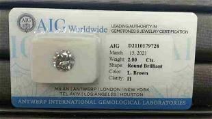 AIG CERT 2.00 CTW ROUND DIAMOND L.BROWN I1
