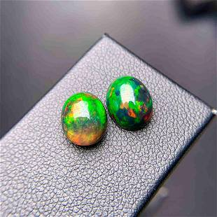 Natural Oval Cut 4.22 Carats Opal Loose Gemstone 2 pac
