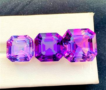 Natural Fancy Asscher Cut Purple Amethyst Gemstones Set