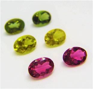 Pink Green Yellow Tourmaline Pairs - 4.80 ct