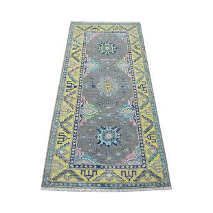 Colorful Gray Fusion Kazak Pure Wool Hand Knotted