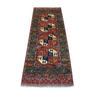 Red Wool Afghan Ersari With Elephant Feet Design Hand