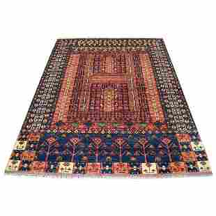 Red Afghan Ersari Hutchlu Design Pure Wool Hand Knotted